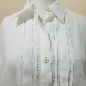 CAbi Long Tunic Button Down Linen Shirt M L